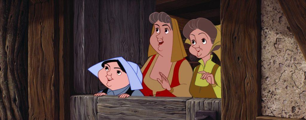 """Le tre Fate de """"La Bella Addormentata"""" travestite da contadine nella casetta in mezzo al bosco."""
