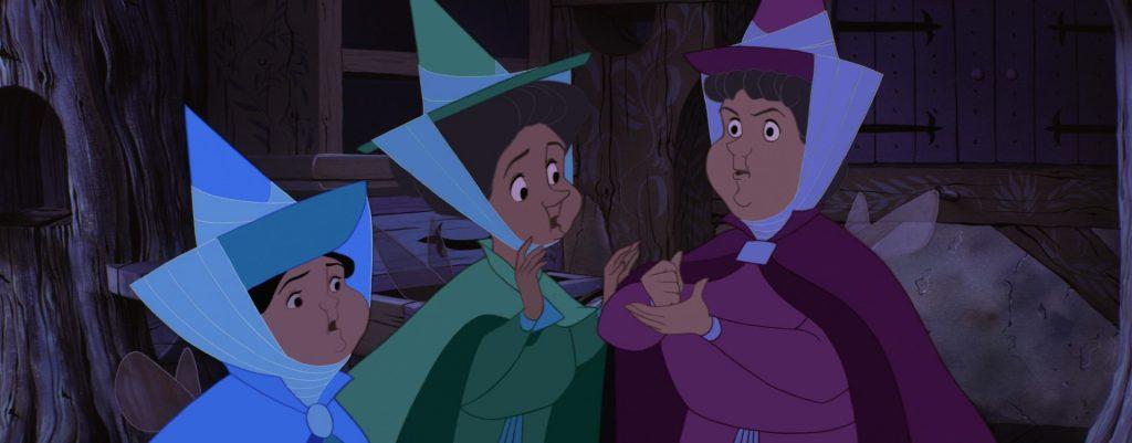 """Le tre Fate de """"La Bella Addormentata"""" decidono di recarsi al covo di Malefica per salvare il principe Filippo e la principessa Aurora."""