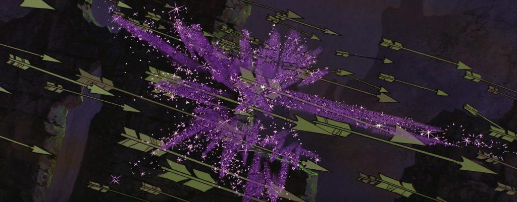 La magia di Flora trasforma in fiori le frecce lanciate da Malefica contro il principe Filippo.