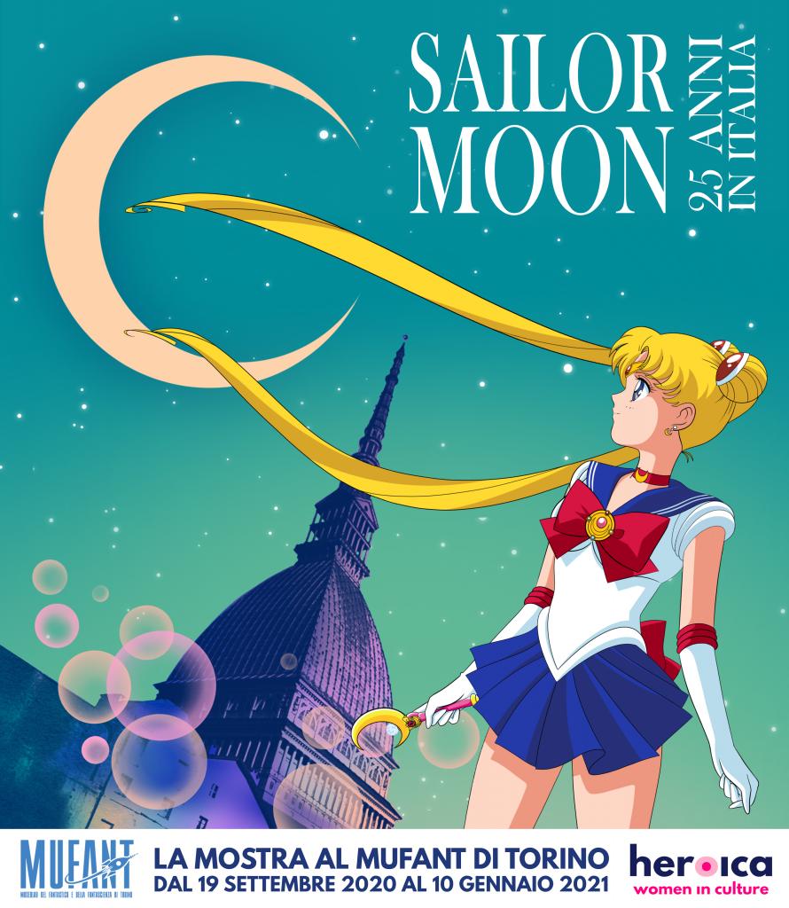 """La locandina della mostra """"Sailor Moon, 25 anni in Italia"""", al Mufant dal 19 settembre 2020 al 10 gennaio 2021."""